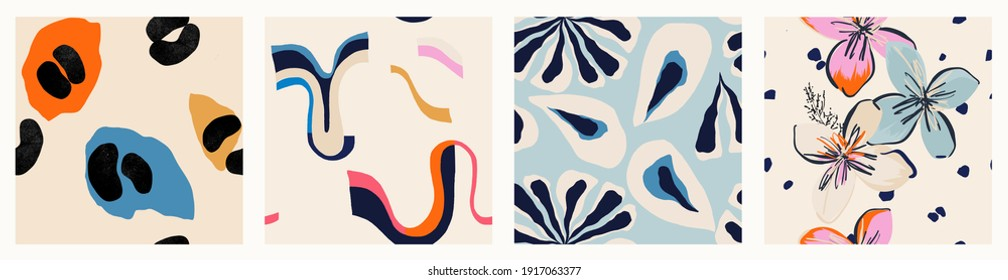 Modern colorful patterns. Hand drawn trendy abstract illustrations. Creative collage seamless patterns.  - Shutterstock ID 1917063377