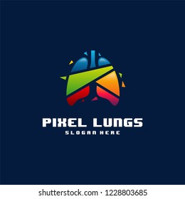 Modern Colorful Pixel Lungs logo designs concept vector, Lungs Technology logo template