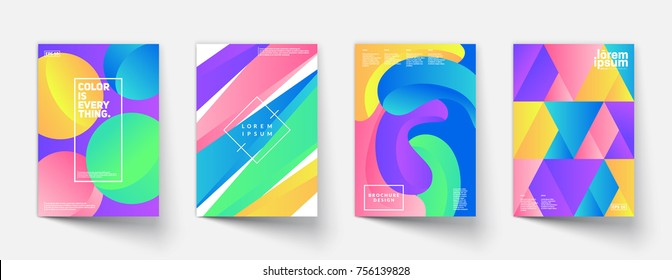 Modern colorful posters set. Gradient shapes composition. Eps10 vector.