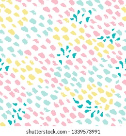 Modern colorful seamless pattern with textured hand drawn painted brush strokes for fabric, textiles, stationery,web design
