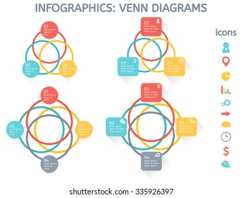 Modern colorful set of infographic elements for business including four venn diagrams and set of icons for people, geo location, pie chart, graphic, settings, arrow, talk, time, money and ecology.
