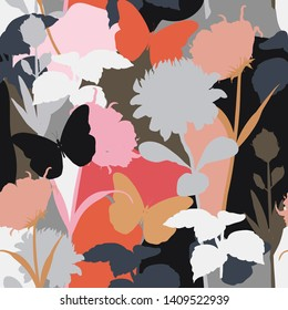 Modern and colorful silhouette of protea floral and botanical plants seamless pattern in stylish vector pop art style design for fashion,fabric,web,wallpaper, and all prints