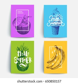 Modern colorful summer posters. Sketches and typography composition. Eps10 vector.