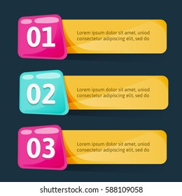 Modern colorful text box template. Vector text templates