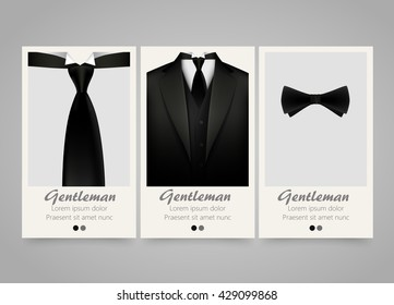 Modern colorful vertical official clothing banners. Wedding ceremony invitation, official meeting,or fashion flyer set. Backgrounds with tuxedo, tie and bow. Vector illustration