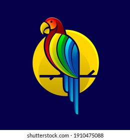 modern colorfull parrot macaw vector graphic for logo design
