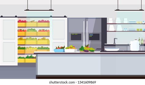modern commercial restaurant kitchen interior with healthy food fruits and vegetables cooking and culinary concept empty no people horizontal flat