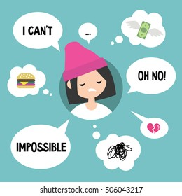 Modern communication concept: Unhappy girl surrounded by speaking and thinking bubbles / flat editable vector illustration