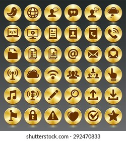 Modern Communication and Online Networking on Gold Round Buttons