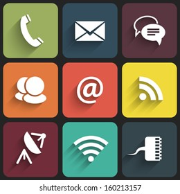 Modern communication signs and icons in Flat Design with shadows. Vector illustration