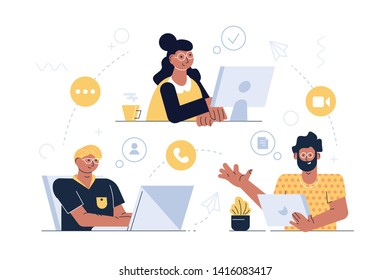 Modern communication technology vector illustration. People messaging talking and video calling via internet application on tablet laptop and computer flat style design. Global network concept