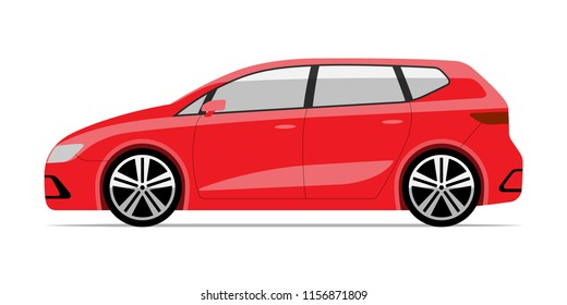 Modern compact car in flat style. Side view of hatchback isolated on white background.