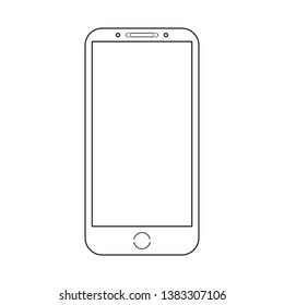 Modern compact smartphone on an isolated white background. Vector drawing of outlines in the style of minimalism. Without shadow.