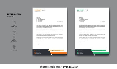 Modern company letterhead template for your project. Business style letterhead design.