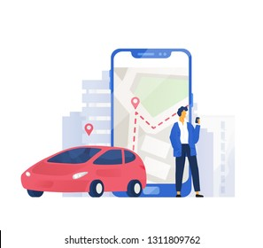 Modern composition with automobile and male character standing beside giant mobile phone with city map on screen. Colorful vector illustration in flat style for carsharing or car rental service.