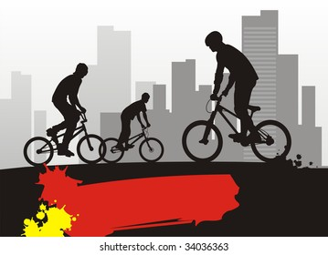 Modern composition with bicyclists. In the foreground three boys on bicycles. On a distance shot a city landscape.