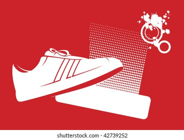 Modern composition with gym shoes. In the foreground gym shoes are located. Near to them a free field for the text.