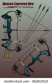 Modern compound bow in two set-ups with mounted quiver, holographic sight and arrow set. EPS-10 high quality flat style vector for your design