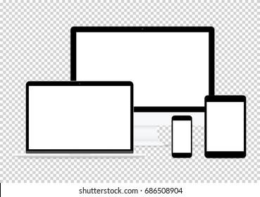 modern computer electronic flat design vector drawing set on transparent background