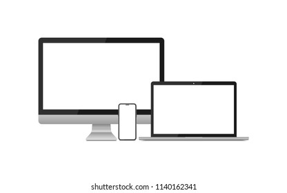 modern computer, laptop, smartphone on a white background.