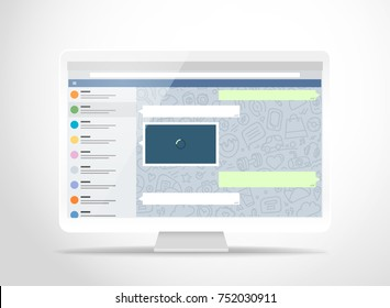 Modern computer with messenger application on the screen. Photoreal mockup. Template for a content
