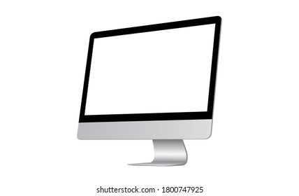 Modern computer monitor with blank screen isolated on white background, side view. Vector illustration