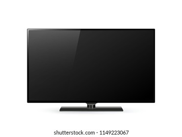 Modern computer monitor display with blank screen isolated on transparent background. Front view. Vector eps10.