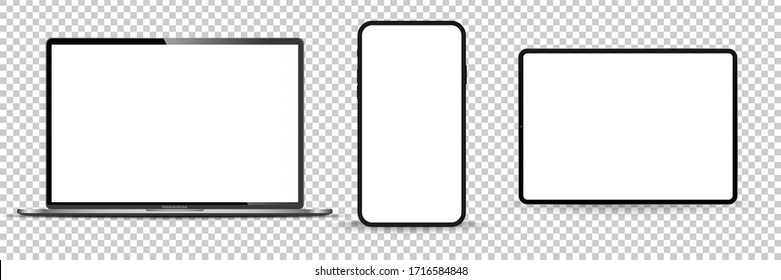 Modern computer monitor mockup isolated on transparent background front view. Vector illustration.