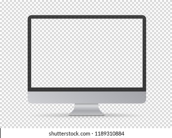 Modern computer monitor vector mockup. Vector object isolated on transparent background