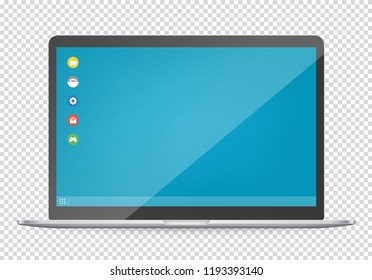 Modern computer with operating system interface template. Vector object isolated on transparent background