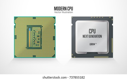 A modern computer processor. Front and back side. Realistic vector illustration isolated on white background.