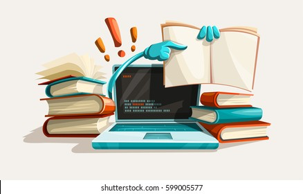 Modern computer technologies education help. Answers from manuals. Paper books library literature with solution tasks. Education and studying concept. Searching for answer. Vector illustration.