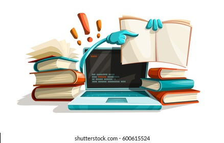 Modern computer technologies education help. Answers from manuals paper books library literature solution tasks. Studying concept searching for answer. Isolated on white. Vector illustration.