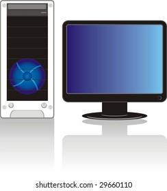 Modern computer. Vector