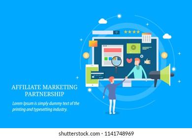 Modern concept of affiliate marketing, digital business partnership, business strategy flat design vector on blue backgorund