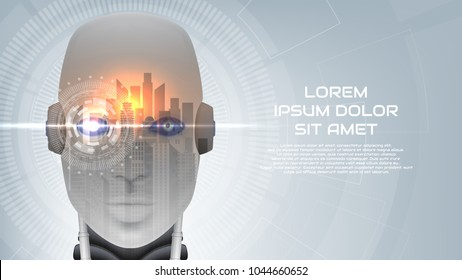 Modern concept banner with robot cybernetic organism. Vector illustration with city landscape. Techno background with cyborg head and virtual HUD interface with augmented reality.