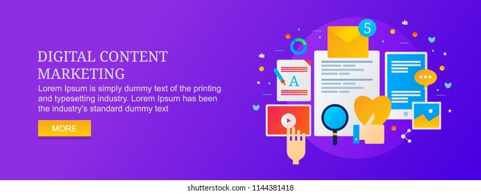 Modern concept for digital marketing, content marketing, social media, SEO optimization with icons and texts