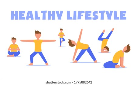 The modern concept of a healthy lifestyle. A set of boys in sportswear doing a variety of sports exercises on the background of the lettering. Can be used for fitness demonstration, yoga and exercise.