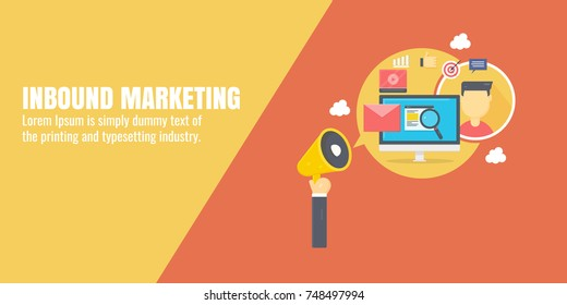 Modern concept of Inbound marketing, digital marketing, email, video promotion flat vector with icons
