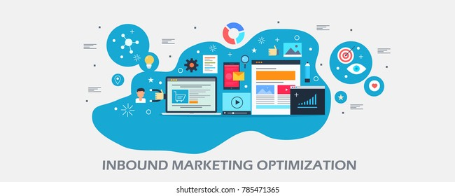 Modern concept of inbound marketing, digital advertising, marketing strategy flat vector banner with icons