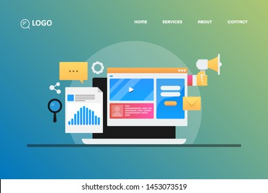 Modern concept of website marketing, marketing analysis, Digital advertising, vector illustration with icons and texts