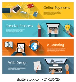 Modern concepts collection in flat design for e-business, web sites, mobile applications, distance learning, online payments, banners etc. Vector eps10 illustration