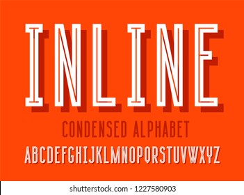 Modern condensed sans serif alphabet font with shadow