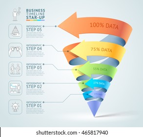 Modern cone 3d staircase diagram business. Vector illustration. Can be used for workflow layout, banner, number options, start up template, web design, infographics, timeline template.