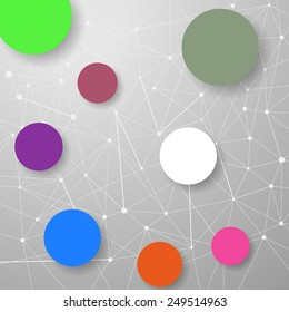 Modern connection modeling background with circles for infographics and information structuring. Vector illustration