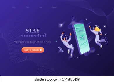 Modern connection web page header template. Vector design of website page with big isometric smartphone surrounded by man and woman in spacesuits. Futuristic and cosmic concept.
