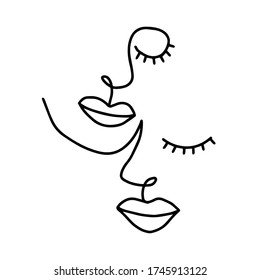 Modern continuous line drawing abstract two half human faces. Great for home decoration such as posters, wall art, tote bag, shirt print, mobile case.