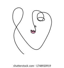 Modern continuous line drawing abstract woman human face. Great for home decoration such as posters, wall art, tote bag, shirt print, mobile case.