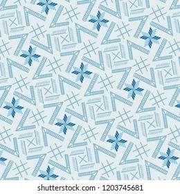 Modern cool blue monochromic geometric repeating pattern with unique structure for creative surface designs, textiles, fabric, background, backdrop, wallpaper and templates. pattern swatch at eps.file