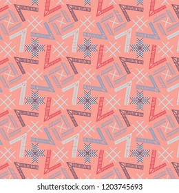 Modern cool colorful geometric repeating pattern on pink with unique design for creative surface designs, textiles, fabric, backgrounds, backdrops, wallpapers and templates. pattern swatch at eps.file
